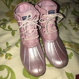 Sperry Blush/Pearl Saltwater Duck Boots Sz 5M
